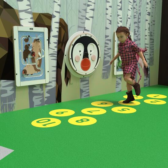 this image shows a hopscotch, parts of the play floor
