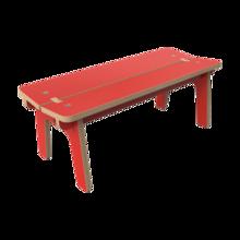 Rood houten bankje voor kinderen zonder rugleuning | IKC kindermeubels